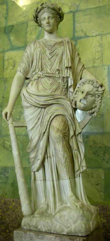 Статуя музи Мельпомена з плаче театральною маскою в руках
