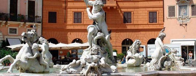 Фонтан нептуна в римі, італія. Fontana del nettuno на фото. »Карта мандрівника