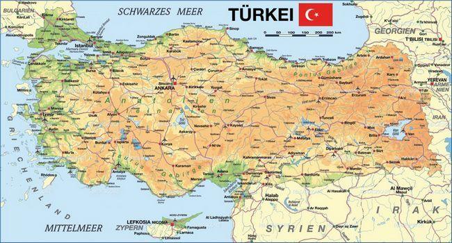 Розташування Туреччини на карті Світу