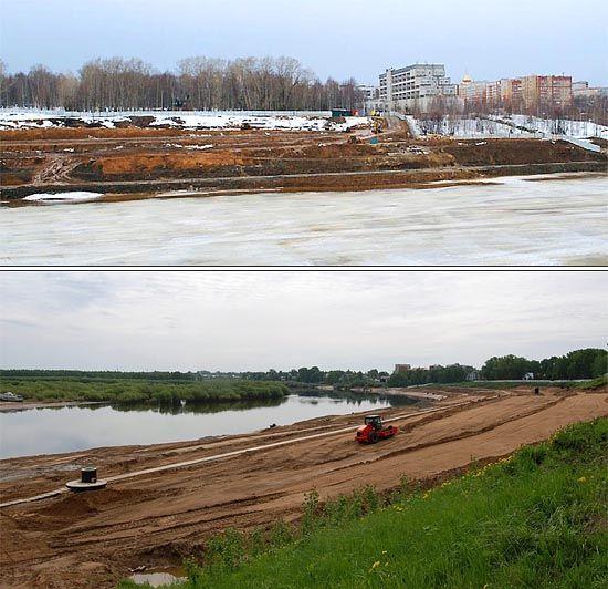 Будівництво берегоукріплення Кіровського парку