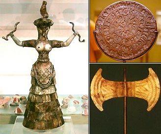 Археологічний музей Іракліон. Богиня повелителька змій, Фестський диск, Сокира з Аркалохорі