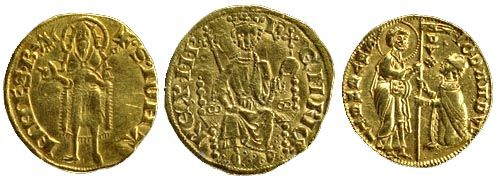 Золоті флоріни з Венеції, Англії та Флоренції. Британський музей. Лицьова і зворотна сторона